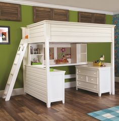 White loft bunk bed - Loft beds work great for kids of almost all ages. From years of age can a child start using a loft bed. Especially if the loft Double Bunk Beds, Loft Bunk Beds, Kids Bunk Beds, Triple Bunk, Bunk Bed With Desk, Bunk Beds With Stairs, Bed With Desk Underneath, Loft Beds For Teens, Twin Size Loft Bed