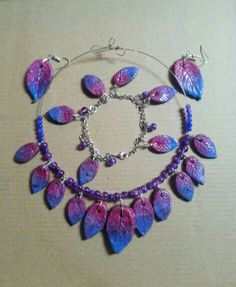Check out this item in my Etsy shop https://www.etsy.com/uk/listing/285898869/clay-leaf-necklace-bracelet-and-earrings