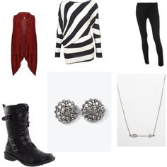 @Stephanie Davis What about a striped shirt like this and the red vest look?  Then accessorize?