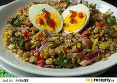 Čočkový salát s vejci recept - TopRecepty. Cooking For One, Easy Cooking, Healthy Cooking, Cooking Recipes, Healthy Recipes, Czech Recipes, Ethnic Recipes, Skinny Recipes, Cooking Light