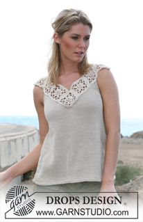 DROPS top with crochet diamond neckline. The neckline on its own is a good idea for upcycling old T-shirts or knit tops. Free pattern.