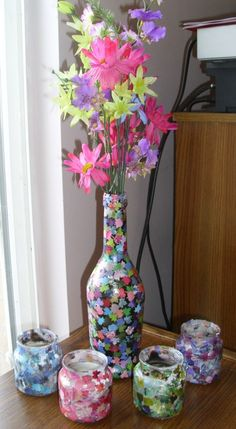 DIY modge podge vases - DIY Vase Collection: 10 Brilliant Vase Craft Ideas
