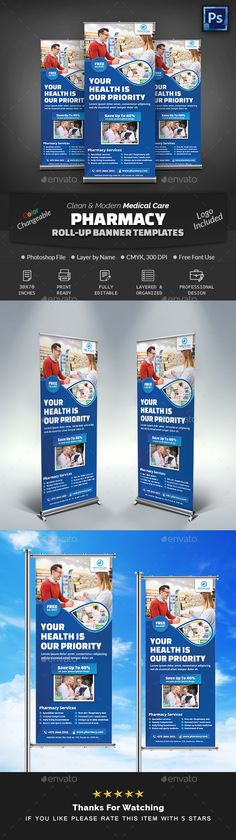 Buy Pharmacy Medical Care Roll-Up Banner by Creative-Touch on GraphicRiver. This Roll-Up Banner Template is perfectly suitable for promoting your Business. Banner Template Photoshop, Medical Health Care, Rollup Banner, Pharmacy Design, Promote Your Business, Print Templates, Artist At Work, Pop Tarts, Make It Simple