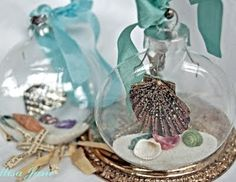 """homemade beach Christmas ornament ball: I'll make it custom by adding the sand from the places I""""ve visited and add a photo of the place too! Seashell Christmas Ornaments, Christmas Balls Decorations, Beach Ornaments, Nautical Christmas, Tropical Christmas, Handmade Christmas, Tree Decorations, Decoration Noel, Christmas Crafts"""