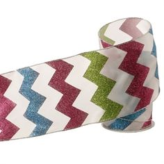 "The Jolly Christmas Shop - 5"" Chevron Lime Pink and Blue Glittered Wired Ribbon, $19.99 (http://www.thejollychristmasshop.com/5-chevron-lime-pink-and-blue-glittered-wired-ribbon/)"