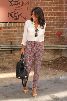 printed pants, white blouse