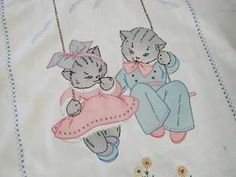 Charming Vintage Vogart Embroidered Kitten Crib Coverlet Pillowcase | Vintageblessings