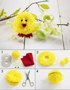 Easter flowers, christmas crafts for kids, diy christmas ornaments, easter craf Crafts For Teens, Crafts To Sell, Diy And Crafts, Pom Pom Crafts, Diy Christmas Ornaments, Spring Crafts, Craft Tutorials, Craft Videos, Easter Crafts