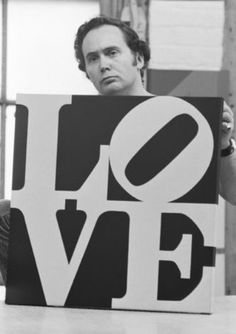Robert Indiana holding his LOVE   photo by William John Kennedy - 1964