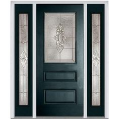 Milliken Millwork 60 in. x 80 in. Heirloom Master Decorative Glass 1/2 Lite Painted Fiberglass Smooth Prehung Front Door with Sidelites-Z003157R - The Home Depot