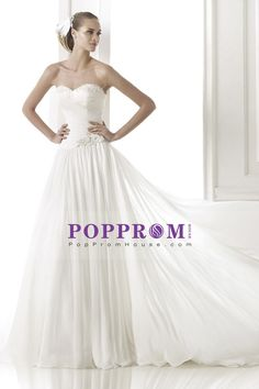 2015 Sweetheart Pleated Bodice A Line Wedding Dress With Flowing Chiffon Skirt Beaded