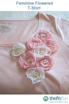 Sew T-Shirt - This is a guide about making a flower shirt. If you want to dress up a plain shirt or update an older one, try adding some handmade fabric flowers. Fabric Flower Tutorial, Fabric Flowers, Bow Tutorial, Silk Ribbon Embroidery, Hand Embroidery Designs, Sewing Clothes, Diy Clothes, Fabric Crafts, Sewing Crafts