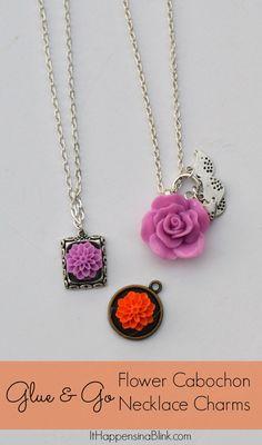 Flower Cabochon Necklace  |  ItHappensinaBlink.com