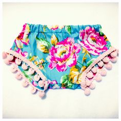 Aqua floral pom pom shorts baby girl toddler by Pandthelion
