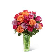 Spring rose bouquet with orange, lavender and hot pink roses. Perfect for Mother's Day! #flowers
