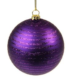"Striped, Dark Purple Christmas Ornament, 4"" Ball"