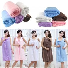 $3.04 Unisex Microfiber towels soft Magic bath towel bathrobes bath skirt beach
