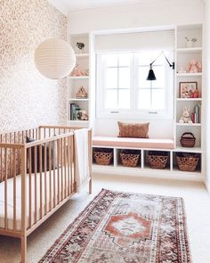 Window seat with cubbies Baby Bedroom, Nursery Room, Nursery Layout, Garden Nursery, Nursery Shelves, Big Girl Rooms, Project Nursery, Nursery Inspiration, Interior Exterior