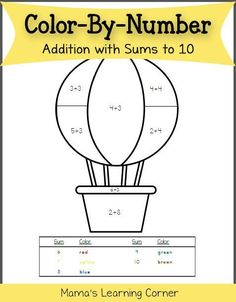 Color By Number Worksheet: Addition with sums to 10