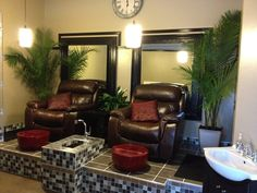 "We have a ""new"" spa area! After some renovations, we have completed our nail area, with new leather, motorized recliners, tiled pedicure area, and a gorgeous manicure bar.  Come try us out and experience how relaxing a pedicure or manicure can be!"