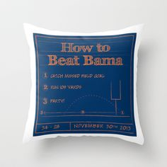 How to beat Bama Throw Pillow by jculver - $20.00