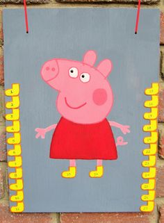 """Peppa Pig Party Activities - """"You Must Wear Your Boots""""  Aka """"Pin the Tail on the Donkey"""" Children each take a boot or a pair of boots and while blind folded try to put Peppa's boot on her foot.  Boots are magnets and will stick to the magnetised board."""