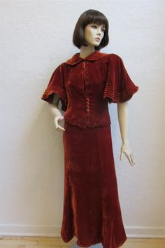 """1930's Best & Co. """"Young Cosmopolitans"""" Velvet Rust Long Dress With Capped Sleeves / Matching Button Up Cape - Size 27 Inch Waist by MTvintageclothing on Etsy"""