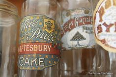 Make your own vintage labels from scrapbook paper and mod podge