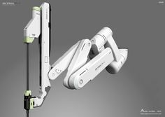 Here is a concept for a robotic surgical system based on da Vinci Xi design by Intuitive Surgical.The Xi was the fourth generation of the da Vinci system And some features included, Smaller incisions associated with minimal scarring, Less need for Industrial Robots, Industrial Design, Cyberpunk, Intuitive Surgical, Mechanical Arm, Robot Arm, Robot Design, Concept Art, Illustration