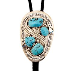 Large Silver and Turquoise Snake Bolo at Maverick Western Wear