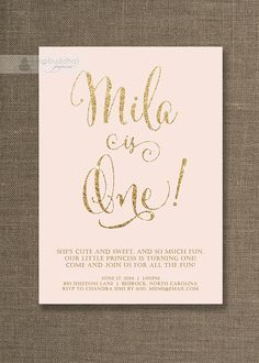 Blush Pink & Gold Birthday Invitation Girl Gold Glitter Pastel Pink Script Modern First 1st Shabby Chic Printable Digital or Printed