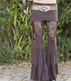 Lace Zumi Dance Pants - in Brown - Floral Lace. $98.00, via Etsy.