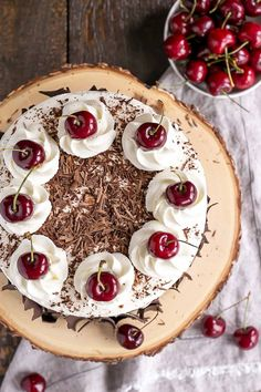 This Black Forest Cake combines rich chocolate cake layers with fresh cherries, cherry liqueur, and a simple whipped cream frosting. Chocolate Cherry Cake, Chocolate Bark, Chocolate Shavings, Melting Chocolate, Chocolate Desserts, Food Cakes, Party Desserts, Dessert Recipes, Easy Cake Recipes