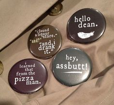 Supernatural Castiel Quote 2 1/4 Buttons Set of 4 by balnibarbi, $10.00