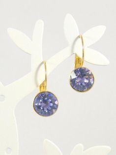von RSSchmuckwelt auf Etsy #bridaljewelery #bridesmaidjewelery #provencelavender #crystalearrings #goldplatedearrings
