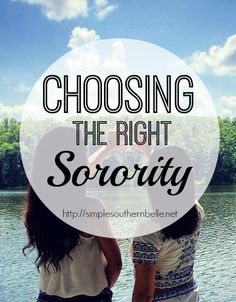 Choosing the right sorority for you can be a little daunting and tough with so many good options out there! Each sorority offers so many different things to it's members and finding th… Sorority Recruitment Tips, Sorority Rush Week, Sorority Row, College Sorority, Sorority Life, College Hacks, College Life, Dorm Life, College Survival