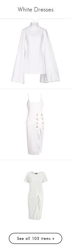 """White Dresses"" by kikikoji ❤ liked on Polyvore featuring dresses, white, white turtleneck dress, long-sleeve turtleneck dresses, long sleeve turtleneck dress, white dresses, long sleeve mini dress, bodycon dress, pink skater dress and maxi dress"