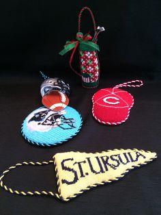 Needlepoint sports ornaments