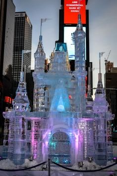 A Disney castle ice sculpture in New York's Time Square!