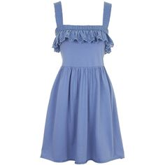 TOPSHOP Broderie Trim Pinafore Sundress (125 PLN) ❤ liked on Polyvore featuring dresses, blue, ruffle dress, cotton sundresses, pinafore dress, blue jersey dress and jersey dress