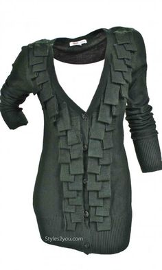 Wow Couture Clothing Women's Cardigan With Chunky Fringe Olive
