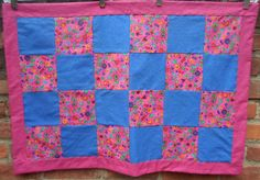 Baby/Toddler Quilt Fancy Flowers W/ Rainbow Plaid by 5thAveFibers, $50.00