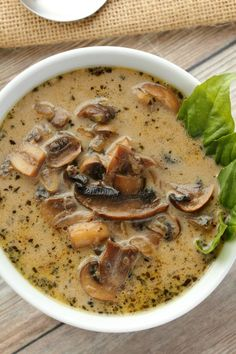 Simple and ultra creamy vegan cream of mushroom soup. Rich and flavorful and del… Simple and ultra creamy vegan cream of mushroom soup. Rich and flavorful and deliciously satisfying, this soup makes an ideal. Vegan Soups, Vegan Dishes, Vegan Vegetarian, Vegetarian Recipes, Healthy Recipes, Vegan Stew, Vegitarian Soup Recipes, Simple Soup Recipes, Simple Vegan Meals