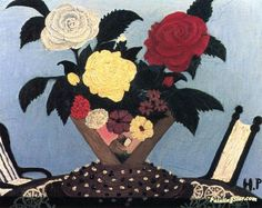 Summer Flowers With Two Chairs Artwork by Horace Pippin Hand-painted and Art…