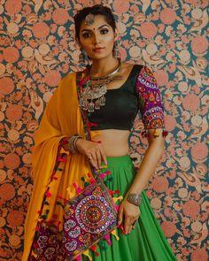 Love this multi colored gujarati lehenga by Annu's creation Navratri Garba, Navratri Dress, Indian Dresses, Indian Outfits, Garba Dress, Chanya Choli, Bandhani Dress, Ghaghra Choli, Mehendi Outfits