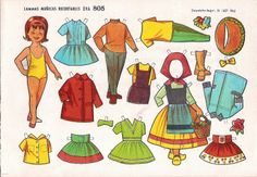 Spanish paper doll book by Maria Pascual of Paper Doll Craft, Paper Dolls Book, Vintage Paper Dolls, Doll Crafts, Paper Crafts, Papercraft Anime, Vintage Playmates, Decoupage, Bizarre