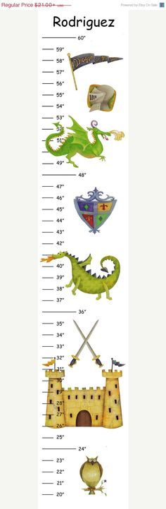 SALE Personalized Medieval Dragon Canvas Growth Chart