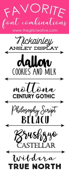 Favorite Font Combinations | Font Pairings | Free Fonts | Commercial Use Fonts