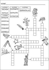 Saber e Saberes: Cruzadinhas com banco de palavras Crossword, Kids, Atv, Puzzle, Alice, Language Activities, Writing Activities, Reading Activities, Preschool Literacy Activities