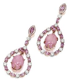 Conch pearl, diamond and pink sapphire earrings.